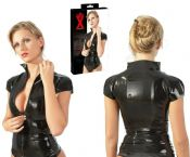The Late-X Collection Shiny Black Ladies Fetish Zip Shirt ( UK 14 - 28)